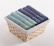 Towel Basket Sandra 6 pcs light menthol and blue