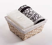 Towel Basket Stone black - white candle
