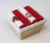 Basket with towels Strawberries - Amanita