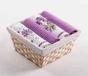 Basket with towels Lavender Clock - Flowers
