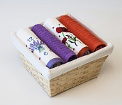Basket with towels Lavender - Poppy