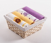 Basket with towels Sunflower - Lavender Clock