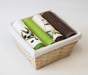 Basket with towels Virgin - Olive
