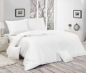 Hotel Bedding White Striped Jacquard